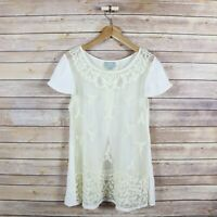 MAEVE Anthropologie Embroidered Lace Sheer Open Back Feminine Top SIZE 6 Ivory