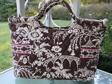 Vera Bradley Cotton Canvas Floral Printed Top Zip Closure Satchel Purse Vintage