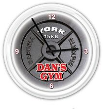Gym Weight Personalized SILENT Wall Clock - Workout Fitness York Barbell - GIFT