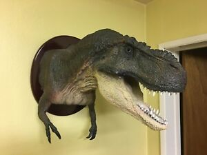 """t-rex bust 27"""" long back mounted ellipse 18"""" by 16"""" with string mount"""