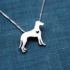 """Great Dane Natural Ears Itty Bitty Sterling Silver 16"""" Necklace - FREE Shipping"""