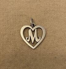"Retired James Avery Sterling Silver ""M"" Initial Letter Heart Charm/Pendant"