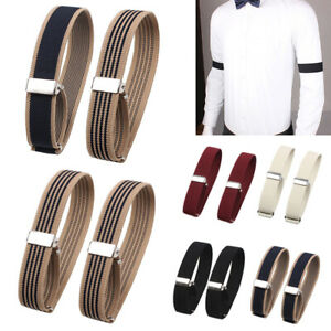 2Pc Men Elastic Armband Groom Shirt Sleeve Adjustable Wristband Arm Cuffs Holder