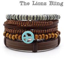 Bohemian stacked Peace Symbol Pendant Leather Slip-Knot & Wood Bead Bracelets