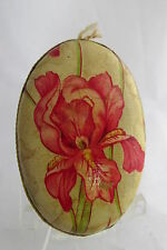 Old German Dresden Paper Floral Red Iris Flower Oval Candy Container Ornament
