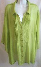 MAGGIE BARNES for Catherine's Sz 3X Green 3/4 Sleeve Semi Sheer Dressy Blouse