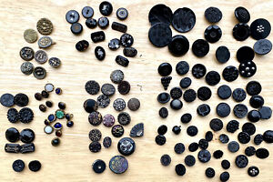 130+ Antique Buttons~Metal, Glass, Matte, Jet, Mourning, Animals, Stars, Flowers