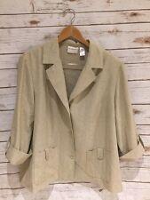 18w Jacket Beige Woman Plus Size Alfred Dunner Linen