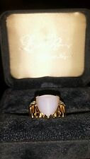 NEW LOW PRICE! Laura Ramsey 14k Yellow Gold CHALCEDONY & DIAMOND designer Ring