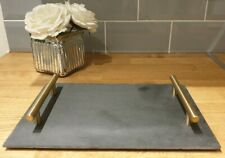 NEW Modern Black And Gold Slate Serving Board Tray Kitchen Dining