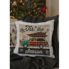 Heritage Lace CP-PC1 18 x 18 in. Christmas Plaid Woody Pillow Oyster