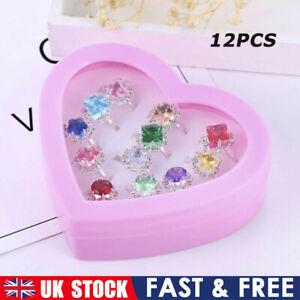 12x Crystal Rings Girl Child Adjustable Kids Ring Set Costume Jewellery Gift UK