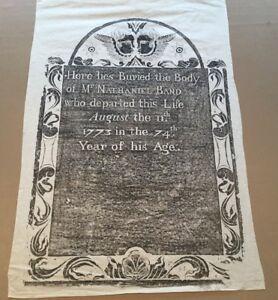 1773 Boston Kings Chapel Nathaniel Band GRAVE GRAVESTONE RUBBING signed FOLK ART