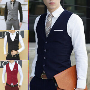 Mens Suit Vest Formal Business Slim Wedding Tuxedo Waistcoat Jacket Coat Tops