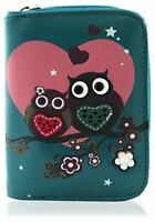 KukuBird Owl Couple In Love Pattern Large Medium Purse Clutch Wallet