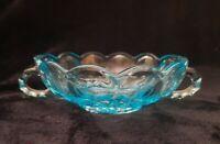 Antique Light Blue Depression Glass 2 Handled Bowl Dish Trinket Candy