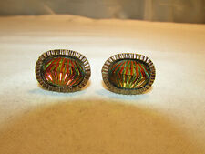 Vintage Gaudy Multi Colored Diamond Design Gold Tone Cufflinks 3B1