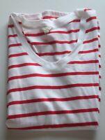 Jigsaw Tshirt Top Size S Soft Modal & Cotton White & Red Stripe Flawless