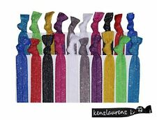 20 Elastic Glitter Hair Ties No Crease Ponytail Holder emi tie jay Ribbon Band