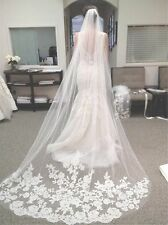 3M White Ivory beautiful cathedral length lace edge wedding bidal veil with comb