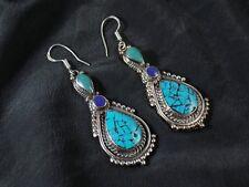Unique Tibetan Turquoise & Lapis Lazuli Handmade Elegant Earring NE-7055
