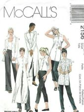 McCalls Sewing Pattern 2156, Shirts in 3 Lengths, Sleeves & Collars, Size 8 10