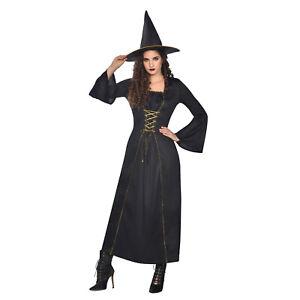 Adult Ladies Black Wicked Witch Fancy Dress Costume Halloween Womens Ladies