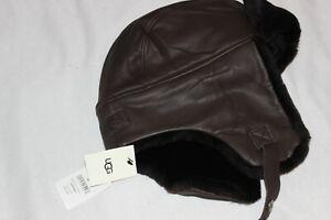 UGG Men's Brown Genuine Leather Shearling Sheepskin Trapper Hat $250 Size S/M