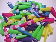 "2 1/2"" PLASTIC KAZOOS LOT OF 72  CARNIVAL, PARTY TOYS  FAVORS ASSORTED COLORS"