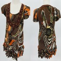 Anthropologie Ranna Gill Womens Multicolor Beaded Scoop Neck Ruffle Dress Size S
