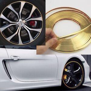 Gold 8.5mm x 8M Plating Trim Strip Wheel Hub Protection Decoration Sticker J1
