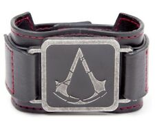 ASSASSIN'S CREED LEATHER ROUGE WRISTBAND OFFICIAL PROMO RARE LOGO NEW METAL