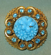 Vintage FLORENZA SIGNED Poured Carved GLASS FLOWER RHINESTONE PIN Jewelry Brooch