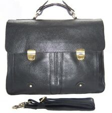 "Men Cowhide Genuine Leather Large Black Messenger Bag Tote 15"" Laptop Briefcase"