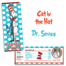 Cat In The Hat Birthday Party Candy Bar Wrappers (10ct) with foil Dr Seuss