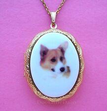Locket Pendant Necklace for Birthday Gift Dogs Cute Porcelain Corgi Dog Cameo