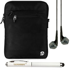 Black Nylon Shoulder Bag Carrying Case Sleeve for iPad Air / 5 + Earphone Stylus