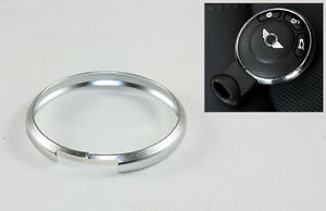 SILVER ALUMINUM RING TRIM FOR 2007 UP MINI COOPER SMART KEY ENTRY FOB KEYCHAIN
