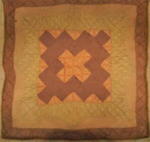 Antique Doll Quilt Chintz 21 inch square Hand Quilted
