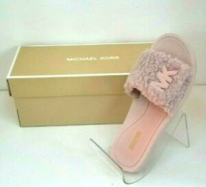 MICHAEL MICHAEL KORS: Faux Fur Slide Sandals in Soft Pink Size 7 NWT