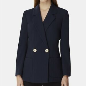 Tahari Asl Double-Breasted Notch Collar Jacket Navy Size 10