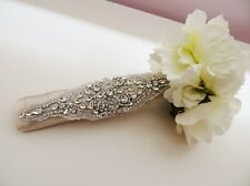 Bridal wedding flowers bouquet jewelry beaded embellishment wrap jeweled bouquet