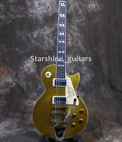 Custom Gold Top LP Electric Guitar Bigsby Bridge Chrome Hardware