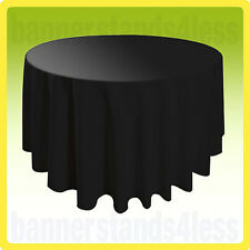 "120"" Inch Round Table Cover Tablecloth Wedding Banquet Event - BLACK"