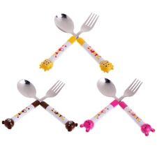 2 X Cartoon Baby Safety Stainless Steel Spoon Fork Set Kids Feeding Tableware