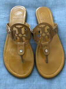 Tory Burch Miller Mustard Yellow Patent Sandals Flip Flops Size 8M