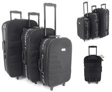 Super Lightweight Set of 3 Suitcase Trolley case Luggage Travel Bag Cabin Black
