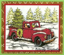 CHRISTMAS OLD FASHIONED TRUCK Wood Mounted Rubber Stamp NORTHWOODS P10111 New