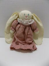 Cloth Bunny Rabbit Doll w Long Ears Dress w Lace Collar Stitched Face