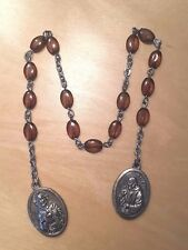 "Rosary Chaplet of St. Pio & Our Lady of Mt. Carmel 12"" Amber Glass Bead Catholic"